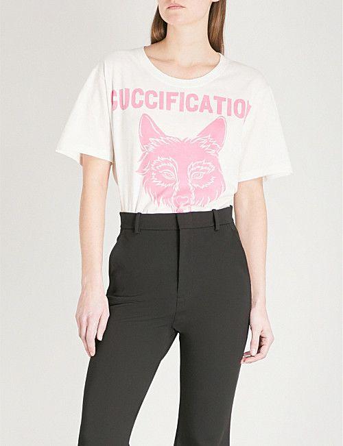 a89775e6 GUCCI Wolf logo-print cotton T-shirt | Women's Slogan T-Shirts | Pinterest  | Shirt vest, Gucci and Creative director
