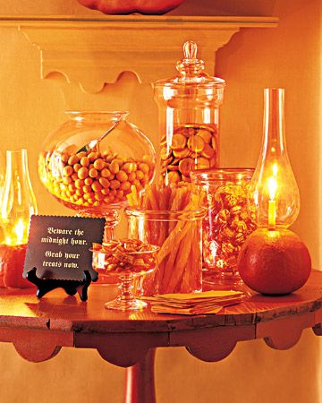 Halloween Candy Bar. It would work great with black candy too!: Holiday, Halloween Decor, Pumpkin, Halloween Candy, Decorating Ideas, Candy Bar, Party Idea, Halloween Party, Halloween Ideas
