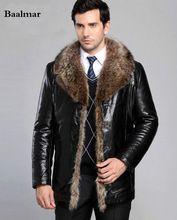 Hommes de Marque De Luxe En Cuir De Fourrure Veste Homme Hiver Manteau Chaud en cuir Outwear Nouveau 2016 Mode veste cuir homme jaqueta de couro(China)