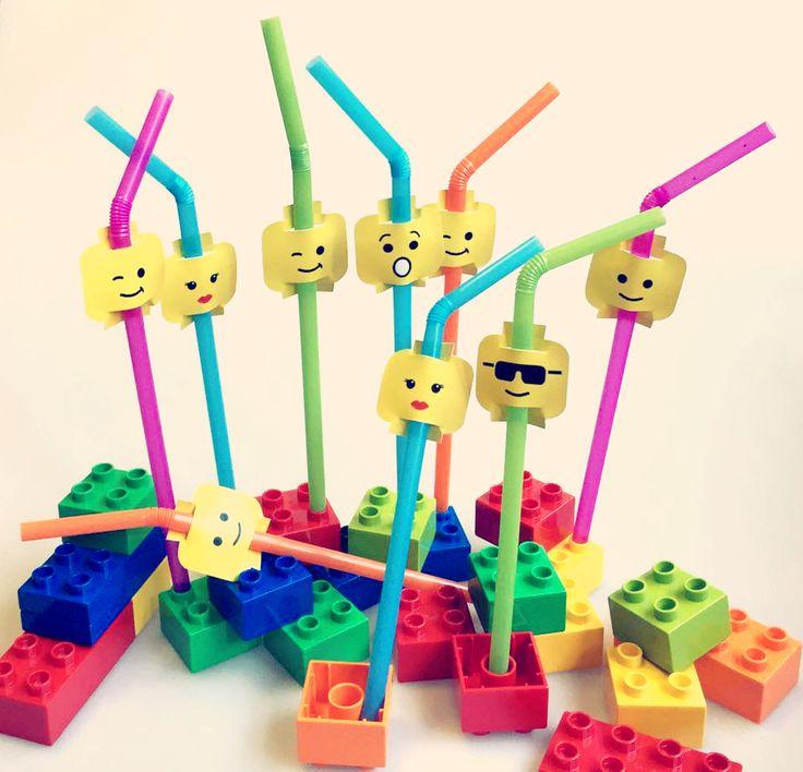 allestimento a tema LEGO gadget cannucce e mattoncini colorati!
