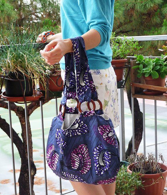 Hobo bag viola in tessuto africano wax  Hobo bag en tissu africain wax violet