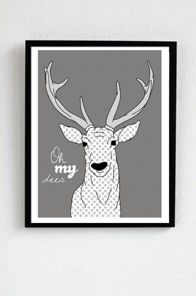 Oh My Deer - I Love Design #nordicdesigncollective #ilovedesign #ohmydeer #deer #grey #fiftyshadesofgrey