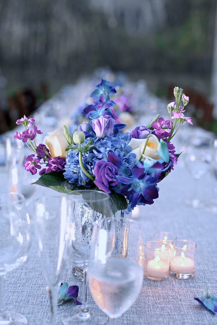 Blue and Purple Flower Centerpieces | TIMEFROZEN PHOTOGRAPHY | http://knot.ly/6493BvgUV | DOUBLE G EVENTS, PLANNING + DESIGN | ABBEY TENT & PARTY RENTALS | FLOWERS BY DANIELLE, LLC | http://knot.ly/6494BvgUn | http://knot.ly/6495BvgUX