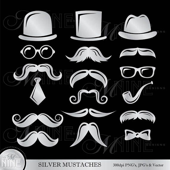 SILVER MUSTACHE Clip Art / Mustaches Clipart / Mustache Theme