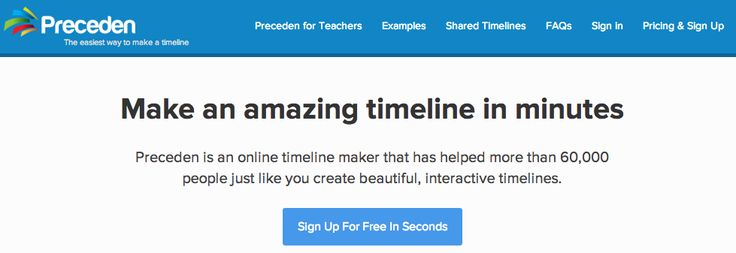 Preceden is an online timeline maker that has helped more than 60,000 people just like you create beautiful, interactive timelines.