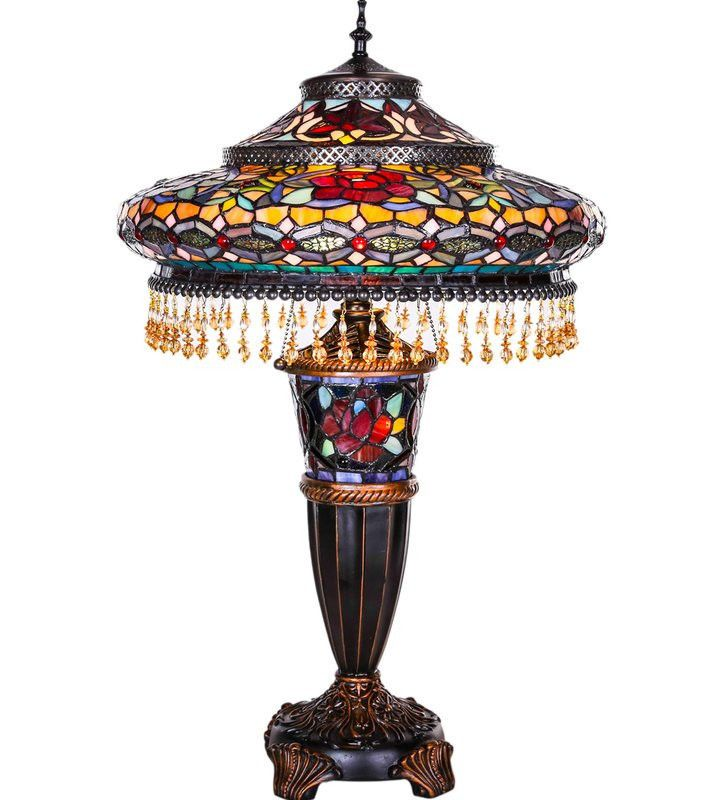 Still Available Tiffany Style 27 5 Amp Quot Parisian Double Lit Stained Glass Table Lamp Unit Wa Multi Colored Stained Glass Table Lamp Stained Glass Lamps