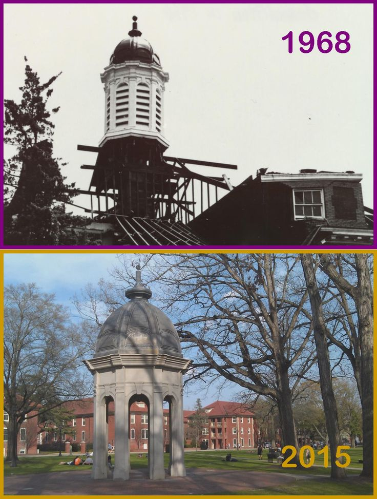 ECU's Cupola as it stood upon the original Austin Building in 1968, and as it is seen today on the Mall. The Cupola along the western edge of the Mall is a replica of the one that stood on Old Austin, the school's original administrative building. #TransformationTuesday