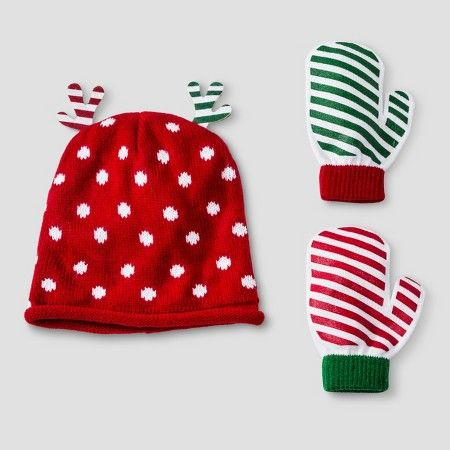 Toddler Boys' Christmas Polka Dots and Stripes 3-Piece Beanie Hat and Mittens Set Red 2T-4T : Target