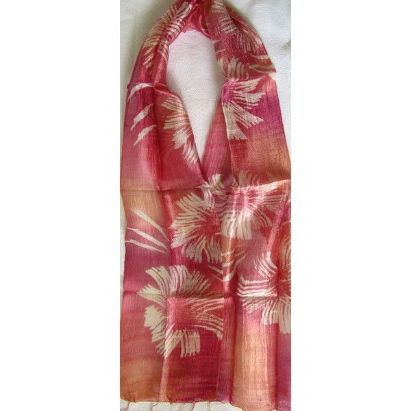 Pink Silk Scarf Hand Dyed Hand Woven Batik Handmade Wedding Gift Wedding Accessories Light Weight Silk Scarf Natural Pure Raw Silk For Her (€15) found on Polyvore featuring women's fashion, accessories, scarves, light weight scarves, woven shawl, pink shawl, silk shawl and lightweight scarves