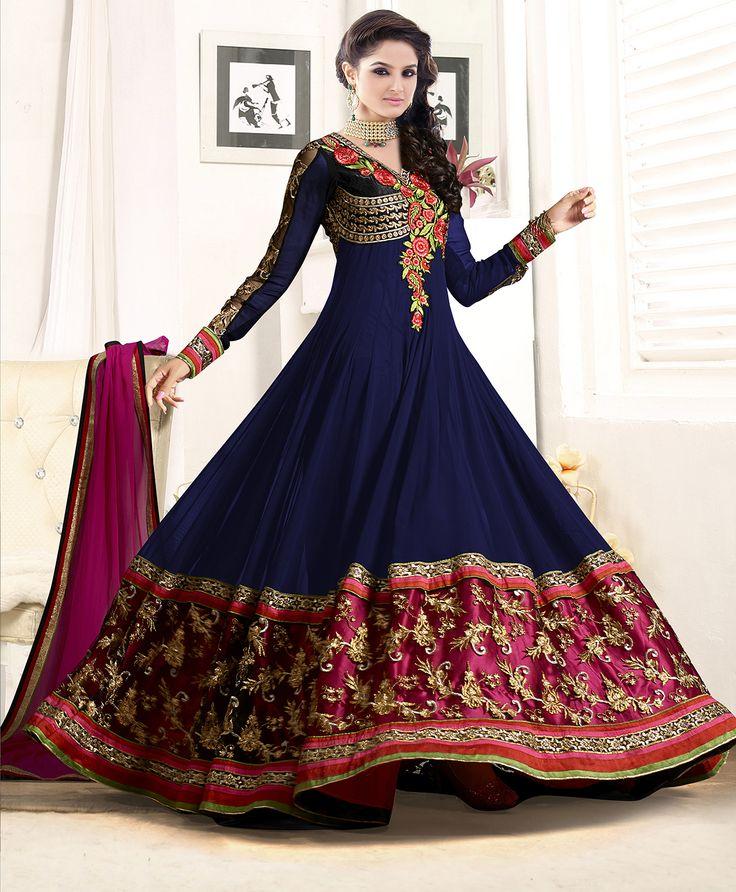 Designer Nevy Blue Anarkali Suit-Clothing-Sarkarfashion
