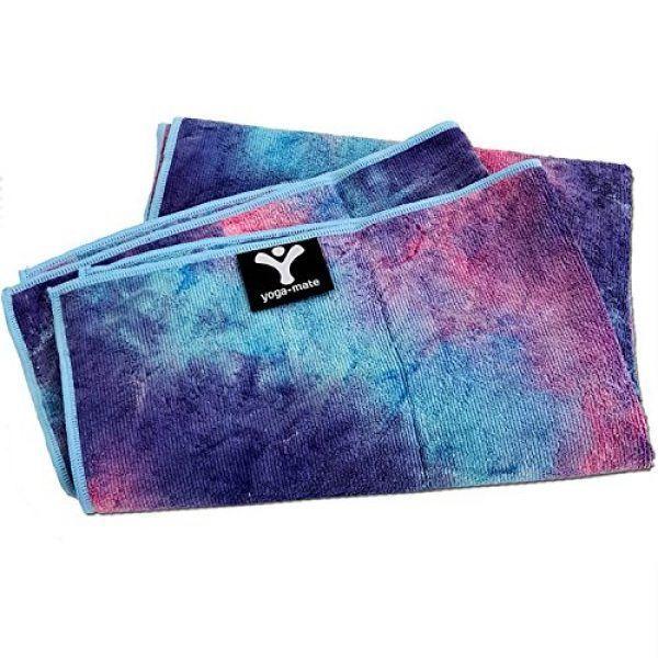 Yoga Mate Soft, Sweat Absorbent, Non-Slip Bikram Yoga Mat Size Towel, Blue & Pink Tie Dye   Blue Trim   yoga accessories