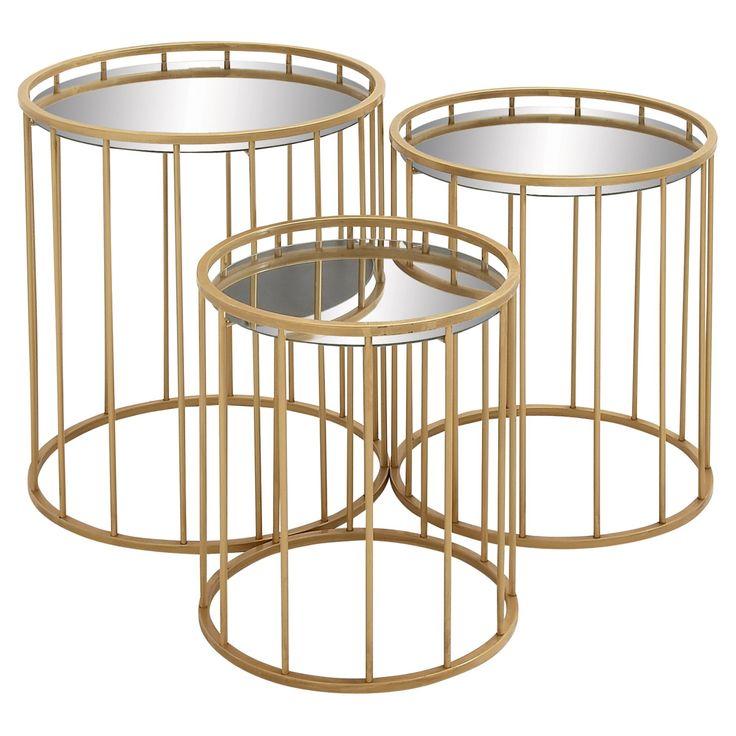 DecMode Mirror Top Metal End Table - Set of 3 - 55561
