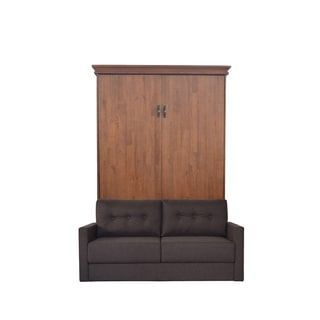 Queen Saw Mill Sofa-Murphy Bed in Reclaimed Brown Finish and Scotts Highland Fabric | Overstock.com Shopping - The Best Deals on Beds