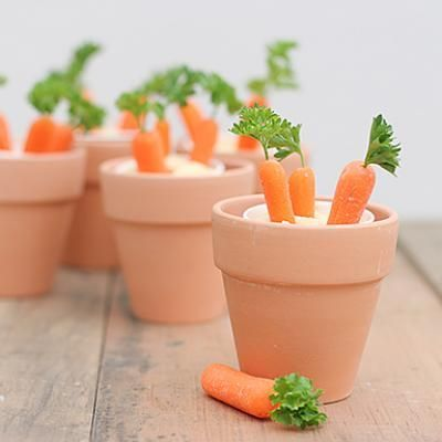 Carrots and Hummus. Could substitute for ranch--would be SO cute for Easter! :)