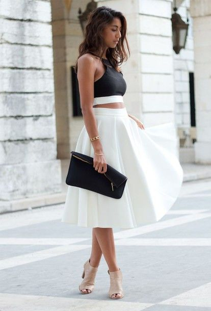 Wheretoget - Black halter crop top with white full skirt and nude high heels