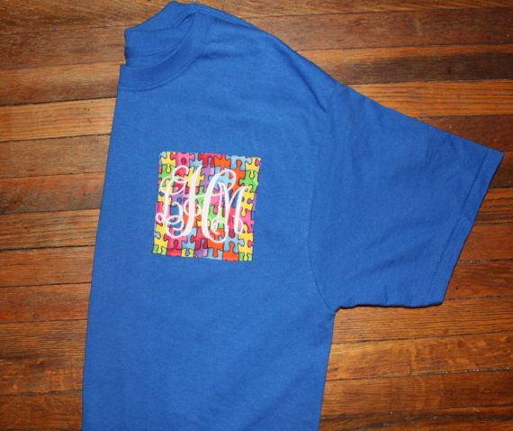 Autism Awareness Monogrammed Pocket Tee by PeachStatePaper on Etsy
