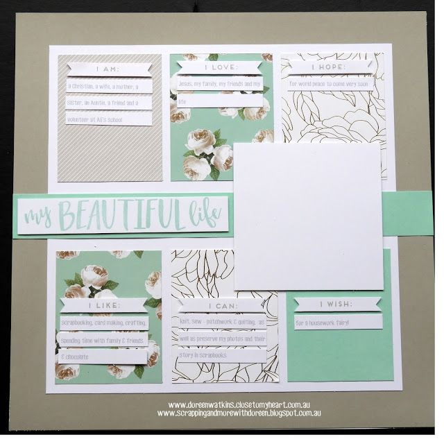 Butterfly Hearts Scrapbooking and Paper Crafts Inspired by layout on page 22 of CTMH Seasonal Expressions 1 (2017) - created using Whisper, White Daisy & Sea Glass Cardstock, Live Beautifully paper pack, Journaling Prompts Stamp set, Sea Glass & Whisper Ink Pads