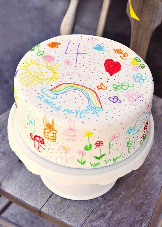 Já pensou em fazer o bolo para o niver das crianças usando como inspiração os desenhos que eles sabem fazer. Imag...