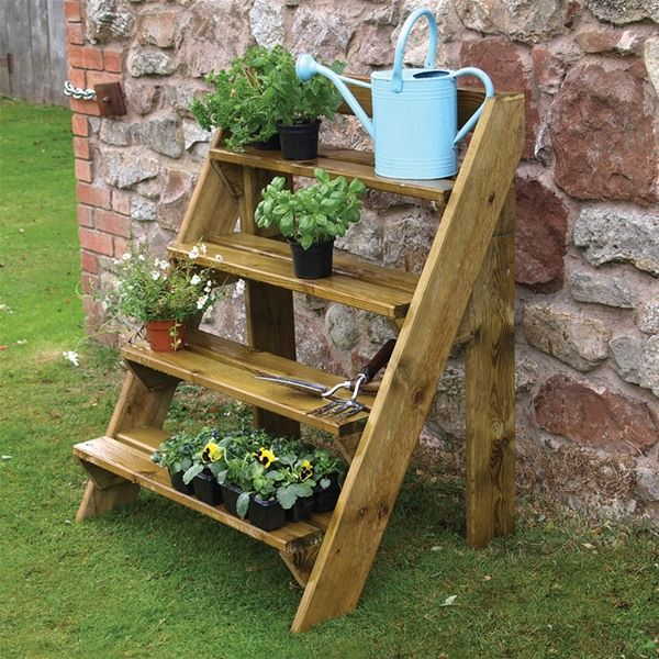 wooden ladder plant stand 1