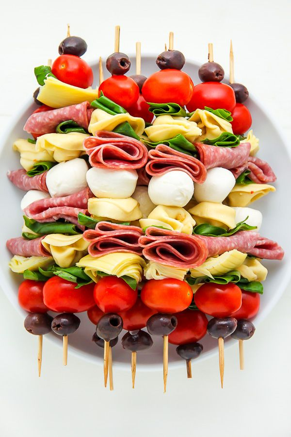 Antipasto skewers easiest appetizer, very versatile (can use any cheese, add-in and take-out ingredients, double or halve recipe easily)