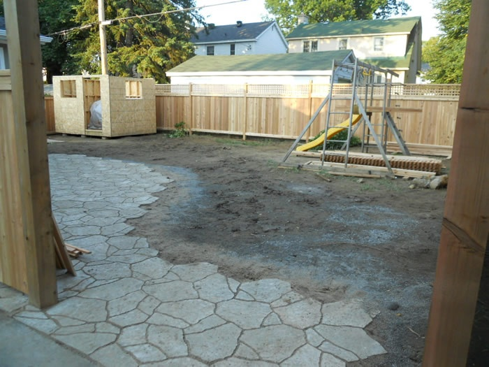 landscaping companies, paving and sodding backyard project