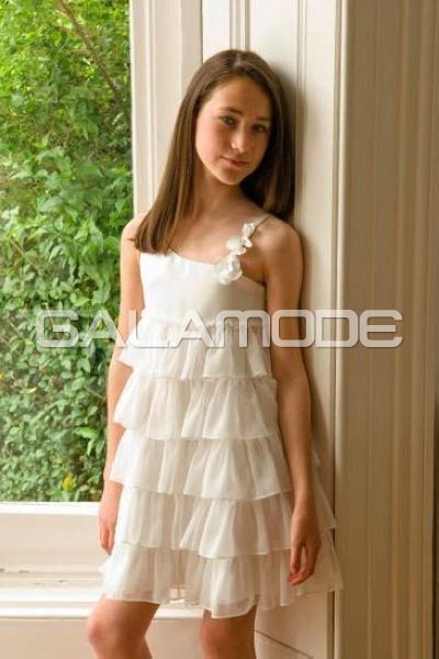 #Robe #Cérémonie #Fille/ Robe Cortège Fille Dramatique Col Asymétrique Sans Manches - galamode.fr