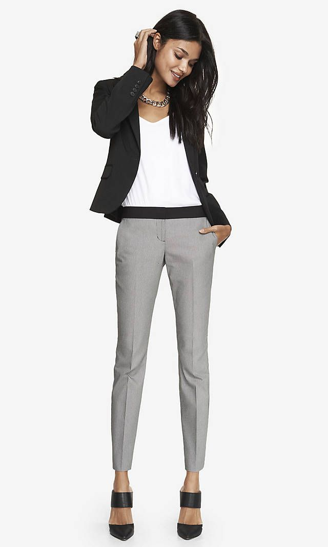 Express Columnist Ankle Pant $79.  The look is heather grey even though it is listed as a print.