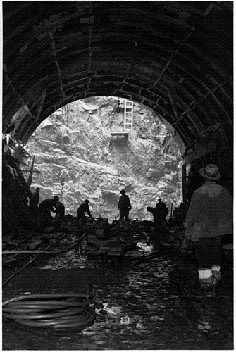 The 1.5-mile-long Lincoln Tunnel under the Hudson River connects New Jersey and Manhattan. It was a WPA project constructed 1934-1937.