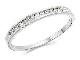 9ct White Gold Diamond Half Eternity Ring - 10pts - 047269