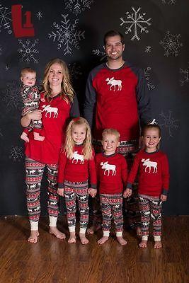Christmas Family Matching Pajamas Set Deer Adult Women Kids Sleepwear Nightwear Xmas lovely happy family Pjamas kigurumis 2016