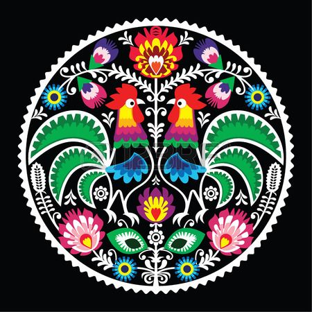 Polish Floral Embroidery With Roosters - Traditional Folk Pattern ...