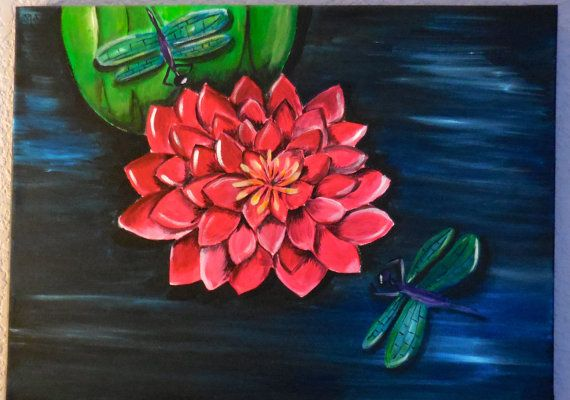 Water Lily with Dragonflies Painting by DragonflyPaint on Etsy