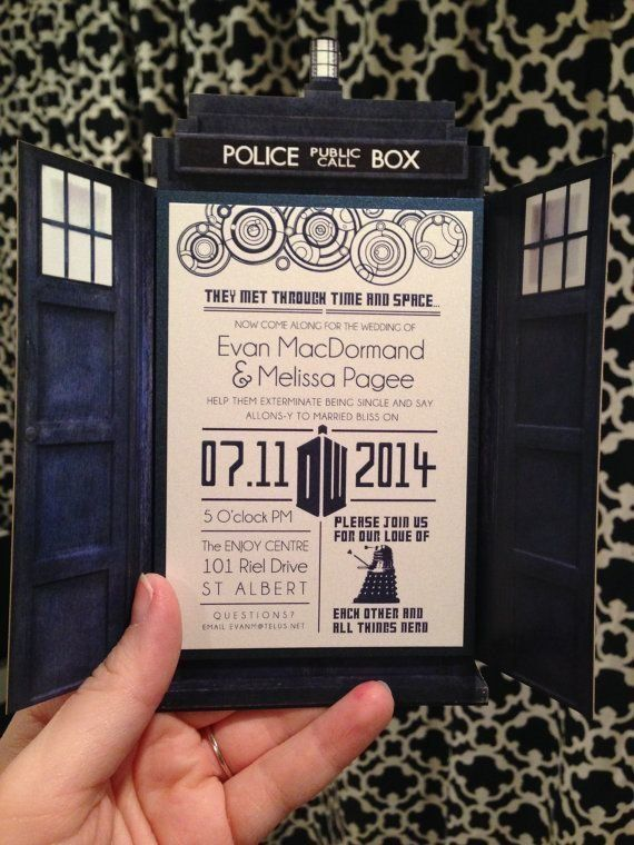 This 'Dr. Who' wedding invitation is so nerdy & perfect! | NimbiDesign/Etsy