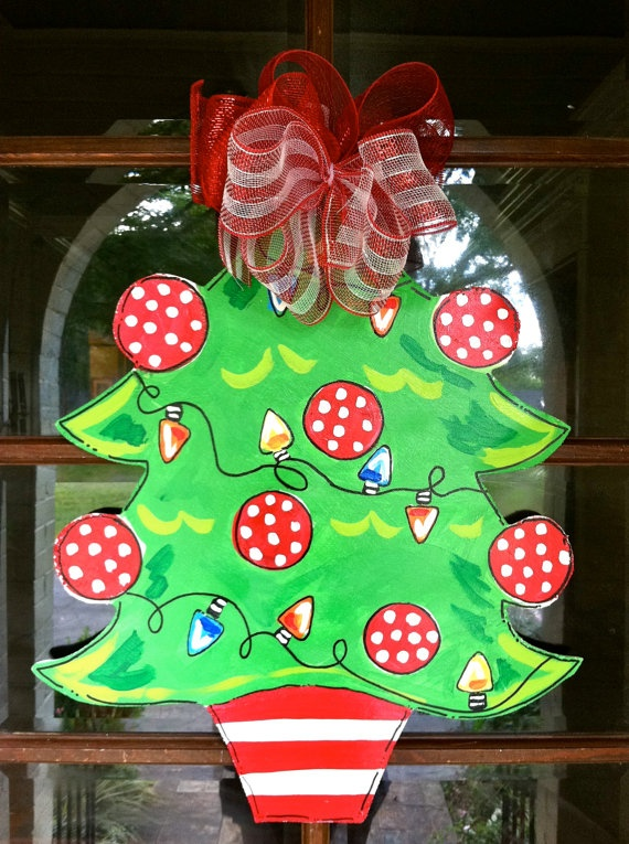Christmas Tree Door Hanger  Bronwyn Hanahan by BronwynHanahanArt, $45.00