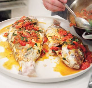 Moist Roasted Whole Red Snapper with Tomatoes, Basil and Oregano