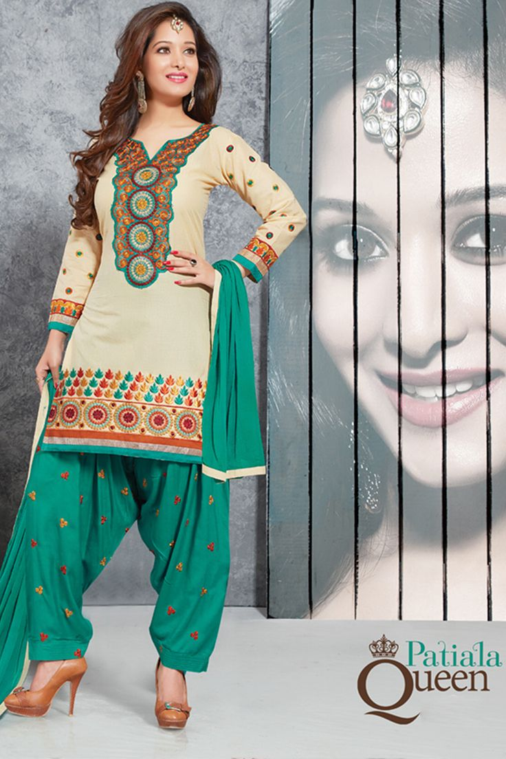 Designer functional wear white cotton punjabi style patiyala dress with embroidary work...