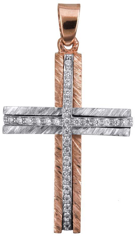 Δίχρωμος ροζ γυναικείος σταυρός Κ14 022870