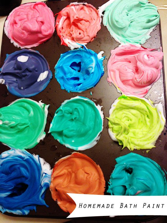 Bathtub Paint! Mix shaving cream with a few drops of food coloring in a muffin tin until you get your desired color!  Spearmint Baby