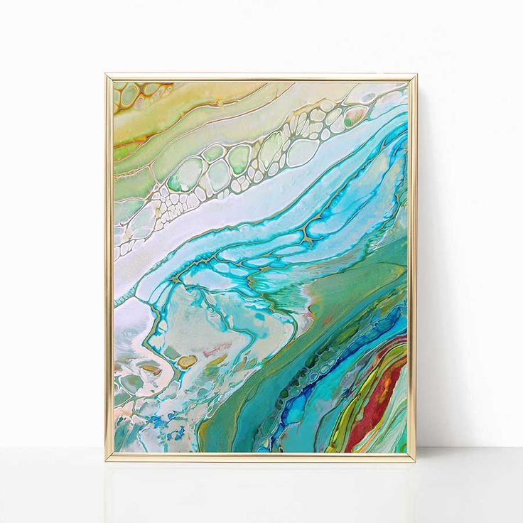 Printable art, ocean wave prints, blue, green digital download art.