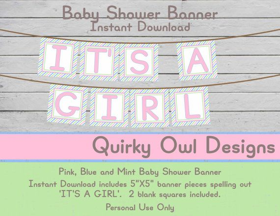 Printable 'IT'S A GIRL' Banner ~ Pink, Mint & Blue Digital Banner, Pastel Baby Banner, diy Banner, Baby Girl Shower, DIY Shower Decor