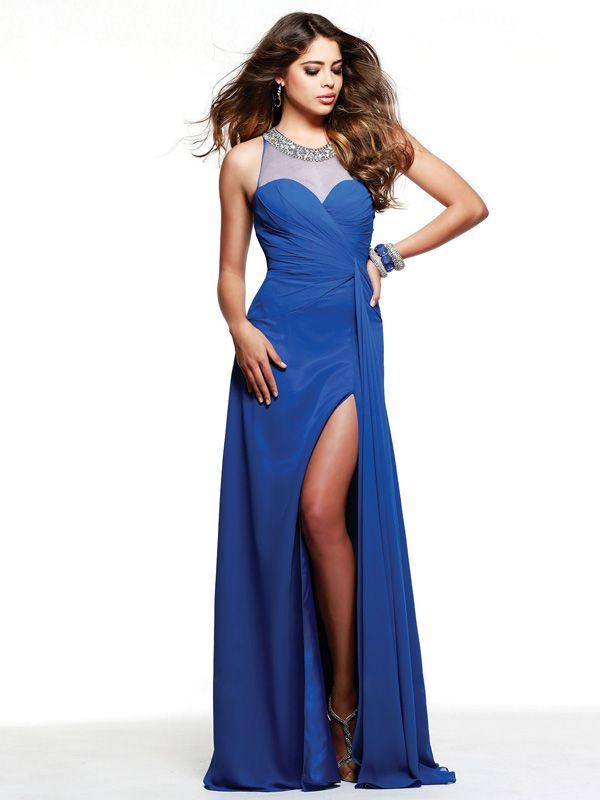 Robe de Soirée Chic Col U Profond Longueur au Sol Bleu Royal Mousseline