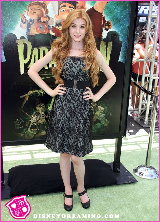 "Katherine McNamara At The ""ParaNorman"" Movie Premiere accompanied by a lone polished chrome crown top stanchion."