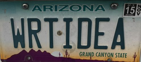 Right Idea - 2 AZ vanity license plates juxtaposed to make a sentence or quip