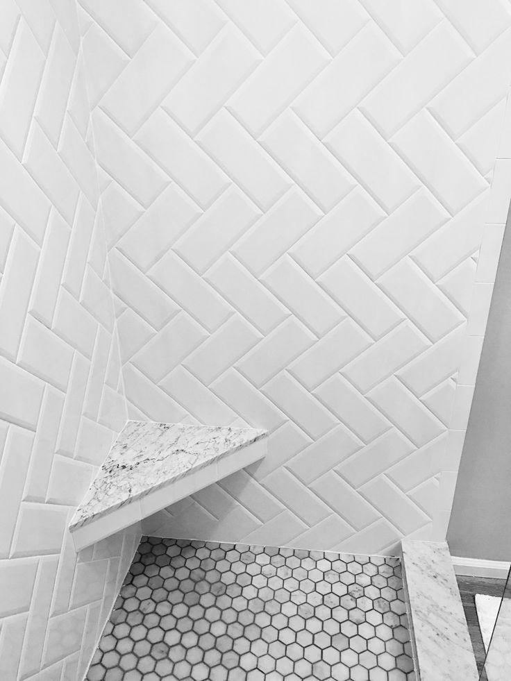 White Beveled Subway Tile Herringbone Pattern Marble