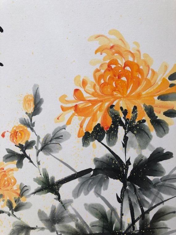 Yellow Chrysanthemums Original Japanese Sumi E By Atsuko Etsy Chinese Painting Flowers Chrysanthemum Watercolor Watercolor Flowers Paintings
