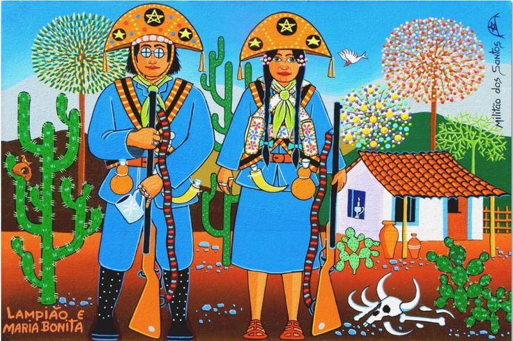 Lampião e Maria Bonita. 2014. Acrílico e óleo sobre tela. Antônio Militão dos Santos (Caruaru, PE, Brasil, 15/06/1956 - ).
