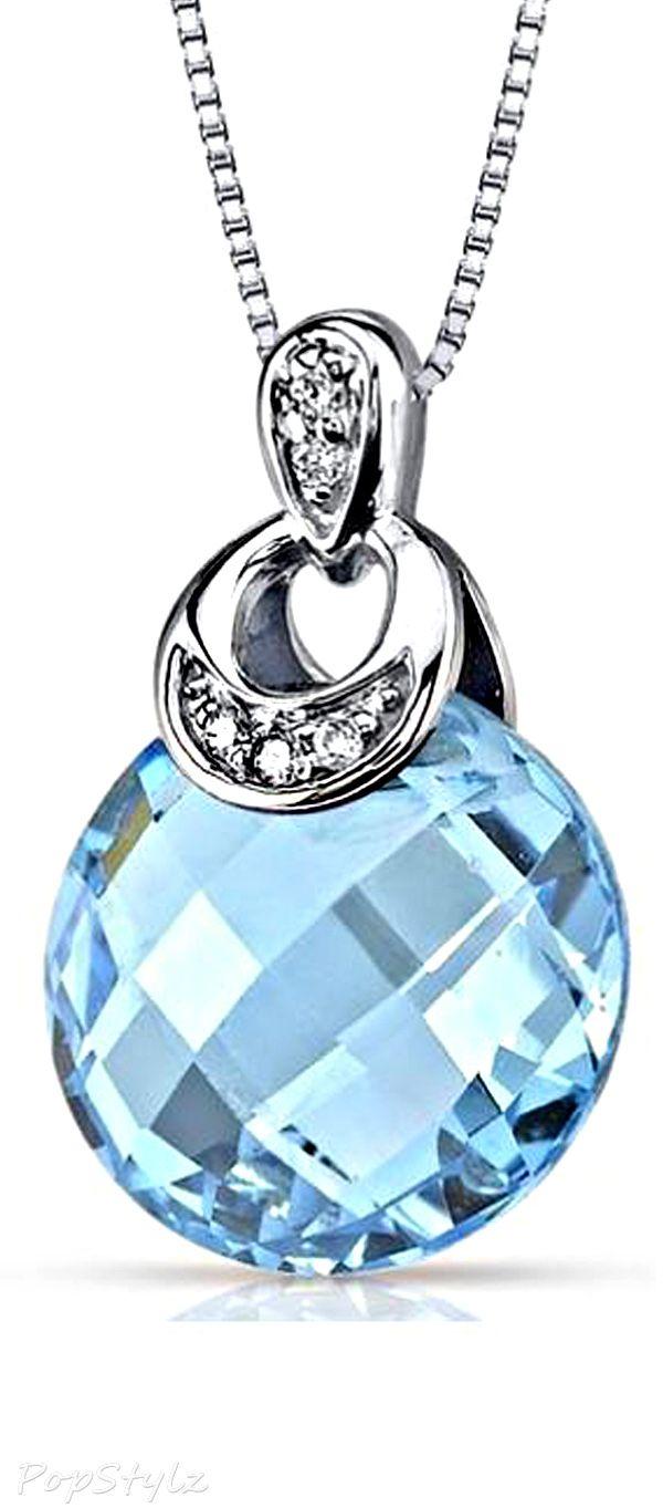 White Gold Swiss Blue Topaz Diamond Necklace - Stunning !