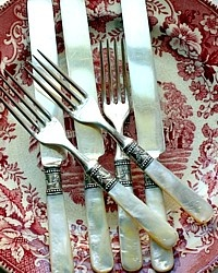 Set of Antique Victorian Mother of Pearl Flatware Service Sterling Ferrules-garland,silver,fork, knife,knives, service,