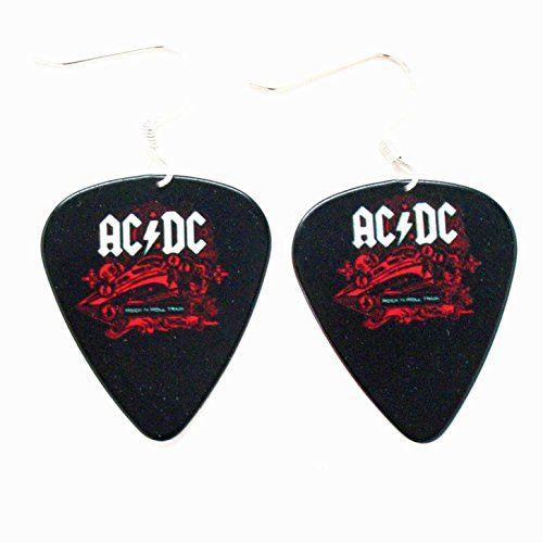ACDC Plektrum Ohrringe AC DC Rock Musik Schmuck punk schwarzem Logo Konzertalbum | Your #1 Source for Jewelry and Accessories