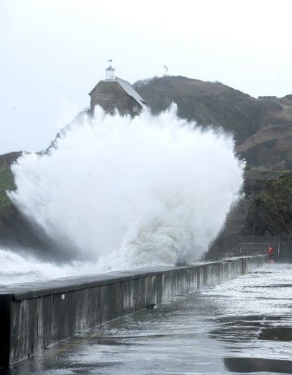 Storm and flood warnings have been issued for the South West of England. Ilfracombe.
